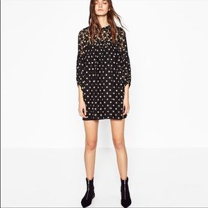 Zara babydoll polka dot mini dress size small